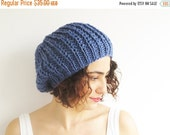 CLEARANCE 50% SALE Blue Slouchy Hat by Afra