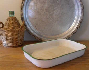 Chippy White and Green Enamel Ware Baking Dish