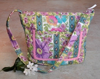ON SALE floral quilted, zippered purse, beautiful pastel multicolor flower tote bag with zipper, cute handbag, unique shoulder bag, fashion