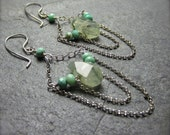 Chandelier Drop Earrings | Sterling Silver Prehnite Dangle Earrings | Handmade Semi Precious Earrings | Gift for Her