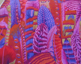 2 yds. Feathers in red, part of the Kaffe Fassett collection