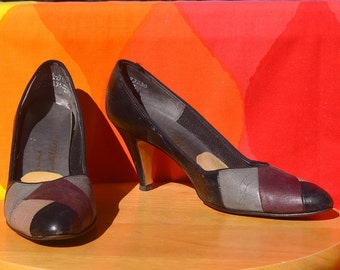 vintage 70s high heels PUMPS leather black patchwork 7.5 A narrow 7 1/2 giovanni martelli 3 inch