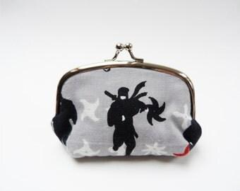 Coin purse, Japanese ninja design, grey and black, cotton purse
