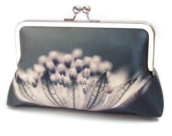 Flower clutch bag, silk purse, monochrome bag, black, grey, woodland wedding, flower petals, Astrantia