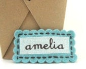 Personalized Name Monogram Hair Clip Barrette, Girls Felt Name Clip, ROBINS EGG BLUE