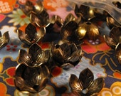 END of Year SALE 10 Pack New Antique Finish Brass Fancy Floral Style Bead Caps