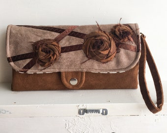 SmartPhone Purse 18x - Flourish MicroSuede Clutch with ID pocket and Wristlet Strap in Mocha n Rust -- Ready to Ship