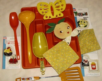 Vintage Kitchen Lot - Oranges and Yellows