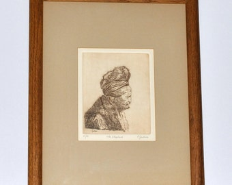 Peter Garbera Old Shepherd Etching