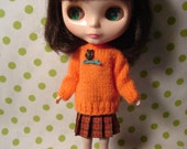 Blythe Orange Sweater with Vtg Owl and Branch Beads for Pullip and Vintage Skipper Too