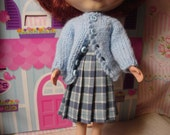 Blythe Woven Blue Plaid Pleated  Wrap Skirt for Pullip and Vintage Skipper Too