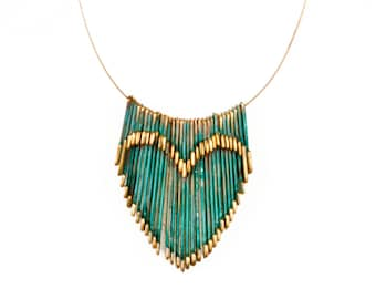 Geometric 3D Architectural Sculptural Kinetic Heart, Antiqued Heart, Minimalist, Gold and Turquoise Fringe Necklace, Bridesmaid present