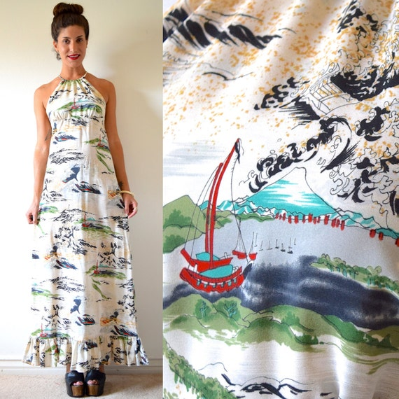 SPRING SALE/ 20% off Vintage 70s Hawaiian Harbor Maxi Dress (size small, medium)