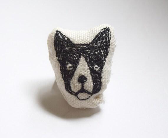 Franklin the Boston – Original Stitch Art Pin