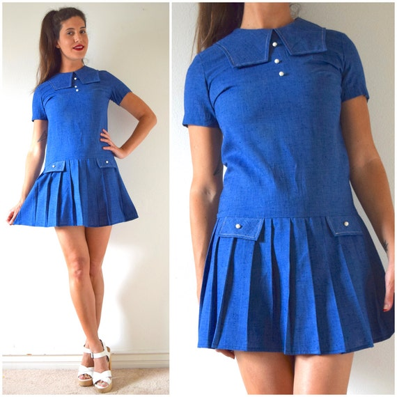 SUMMER SALE / 20% off Vintage 60s Blue Chambray Dropped Waist Pleated Sailor Shift Dress (size small, medium)