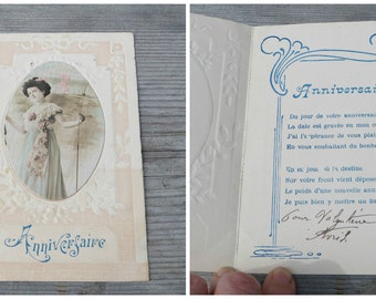 Vintage Antique 1900  double page  embossed French postcard real photography soft colors Anniversaire