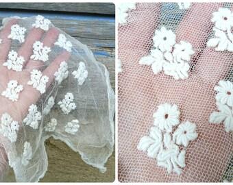 Vintage Antique Edwardian French original embroidered veil lady's bonnet  headdress  hat veil millinery