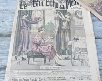 Vintage Antique old French april 1920 publication fashion issue Le petit echo de la Mode