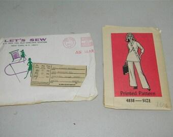 Vintage Let's Sew Pantsuit Pant Suit Lets Pattern 4838 Size 16 1/2 11589