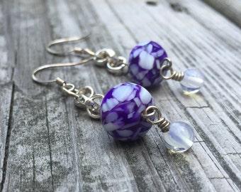 Purple Resin, Seashell, Moonstone and Chain Beaded Dangle Earrings