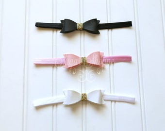 Little leather bow headband, Pink and Gold, Black Leather, White and Gold, Newborn, Infant, Bow Headband, First Birthday, Black and Gold