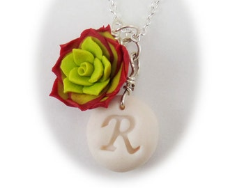 Personalized Red Succulent Initial Necklace - Red Succulent Jewelry