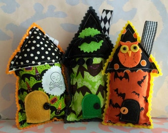 Whimsical Stuffed Fabric House Halloween Pillow Ornaments Set of Three