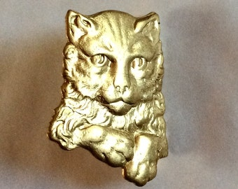 Pensive thoughtful cat kitten raw brass brooch /pin vintage finding