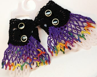 Pair of hand crocheted lacy wrist cuffs colorful