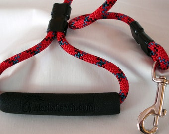 short dog leash, 2 feet long, 8mm red climbing rope, triangle style handle, ready to ship