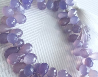 1/2 strand of purple chalcedony tear drops WHOLESALE PRICES