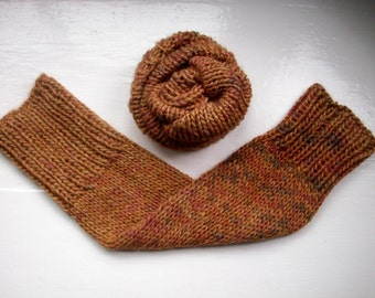 Chunky leg warmers, classic, warm wool alpaca mix, variegated hand painted browns