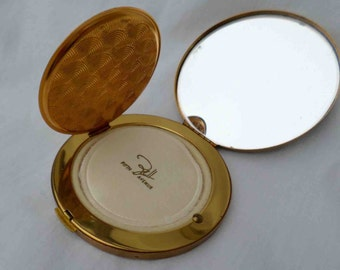 Vintage Brass Pound Compact with Floral Motif by Dell 5th Avenue / Mid Century Vanity Beauty / Vintage Bridal Wedding Gift / Accessory