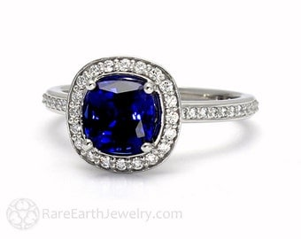 Blue Sapphire Cushion Halo Engagement Ring Platinum Conflict Free Diamonds Sapphire Ring Wedding Ring