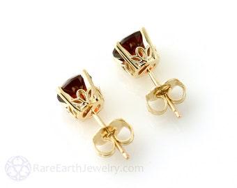 14K Red Garnet Earrings 5mm 6mm or 8mm Studs 14K White Yellow Rose Gold January Birthstone Earrings