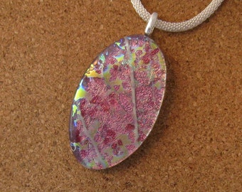 Dichroic Pendant - Dichroic Jewelry - Fused Glass Pendant - Fused Glass Jewelry - Dichroic Necklace - Fused Glass Necklace - Pink Pendant