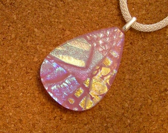 Pink Dichroic Pendant - Fused Glass Pendant - Dichroic Necklace - Dichroic Jewelry - Fused Glass Necklace - Fused Glass Jewelry