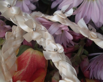 Wedding Handfasting Cord - Ivory Bows and Crystal