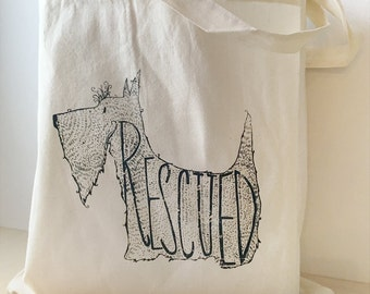 Scottie Scottish Terrier Rescue Dog typography drawing dog artwork typography screen printed illustration cotton tote bag