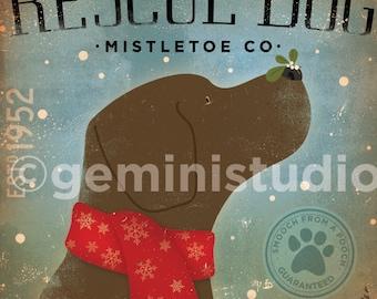 Rescue Dog Mistletoe Company original illustration giclee signed artists print by Stephen Fowler