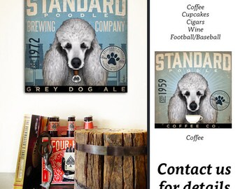 Standard Poodle dog Beer Brewing Company graphic illustration on gallery wrapped canvas by Stephen Fowler