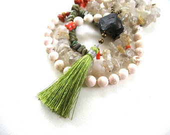 Tassel Necklace, Bohemian Necklace, Gemstone Mala Bead Necklace, Gemstone Jewelry, Smoky Quartz, Turquoise, Howlite, Coral, Rutilated Quartz