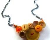 Winter sale Nude and Neon Orange Vintage Button Necklace