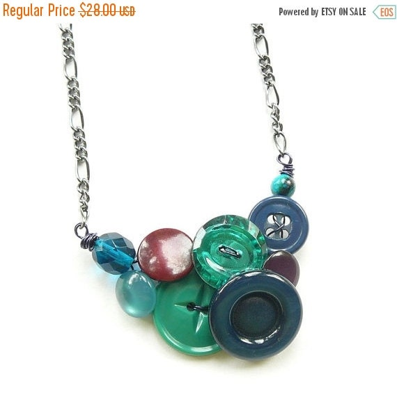 ON SALE Small Jewel Tones Button Necklace in cool colors with emerald green