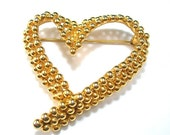 Open Heart Brooch, Fernando Originals, Beaded Look, Goldtone Metal, Signed FO,, Vintage c1980s, Sweetheart Valentine Costume Jewelry