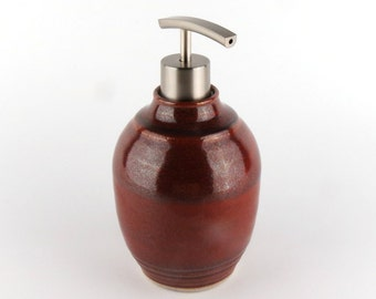 Large Stoneware Soap / Lotion Dispenser - 20 oz - Brick Red /Handmade Wheel Thrown Pottery
