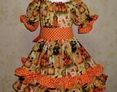 Thankful Pumpkin Patch Ruffle Peasant Dress, Thanksgiving Girl Ruffle Dress, Girl Fall Dress, Pumpkin Dress, Orange Girl Dress, LAST ONE