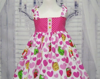 SALE Girl Dress  Made with Shopkins Fabric,  Party Dress , Girls Dresses,  Girl Sun Dress, Pink and White Girl Dress, Party Dress