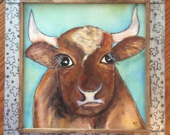 Horned Cow Folk Art Painting