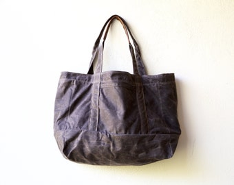 sale -  waxed canvas tote - Five Pocket Cape Tote  -  lined in waxed canvas - waxed canvas shoulder bag - waxed canvas tote
